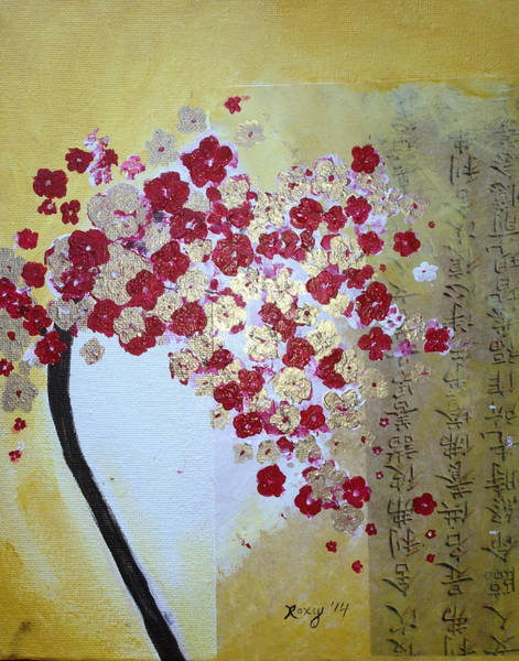 Tree Painting - Red And Gold Cherry Blossoms by Roxy Rich