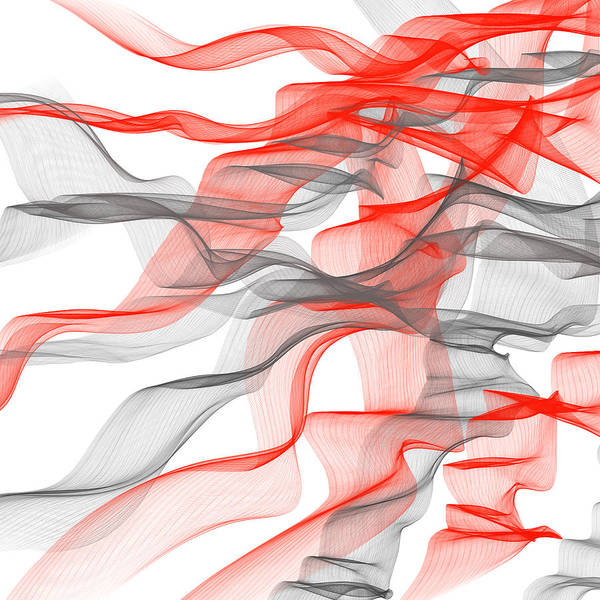Painting - Red And Gray Ribbons -red And Gray Art by Lourry Legarde