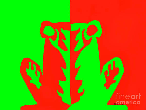 Complimentary Colors Mixed Media -  Red And Green Negative Positive Frog by Dale E Jackson