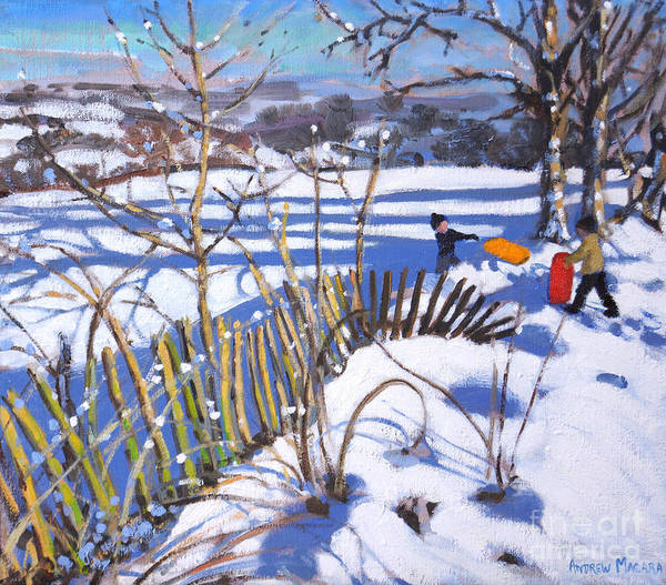 Wall Art - Painting - Red And Orange Sledges, Derbyshire by Andrew Macara