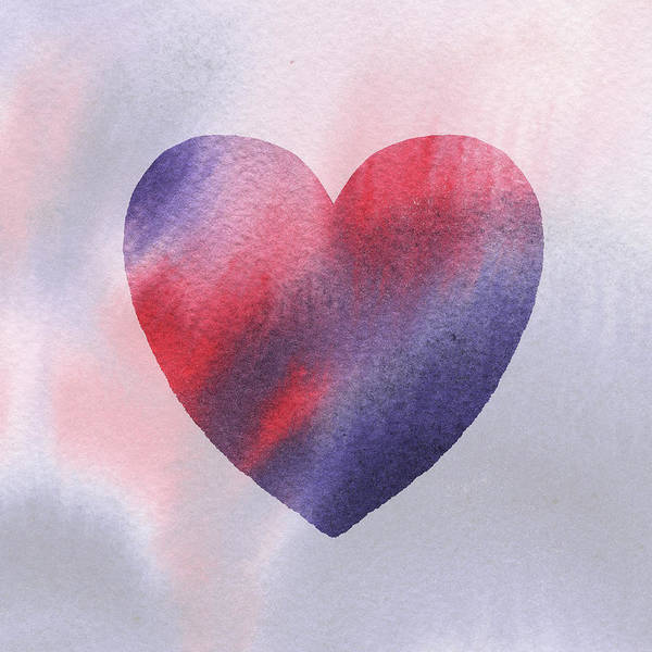Painting - Red And Purple Heart Watercolor Silhouette by Irina Sztukowski