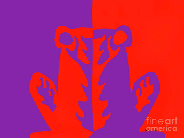 Complimentary Colors Mixed Media - Red And Purple Negative Positive Frog by Dale E Jackson