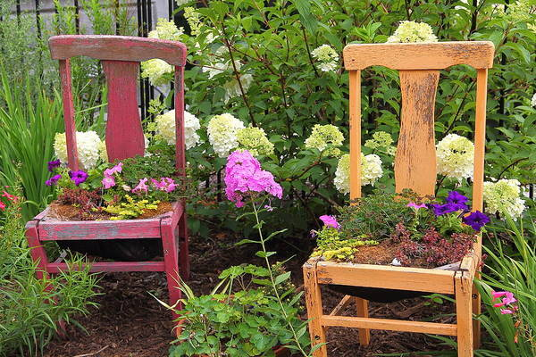 Photograph - Red And Tan Chair Planters by Allen Nice-Webb