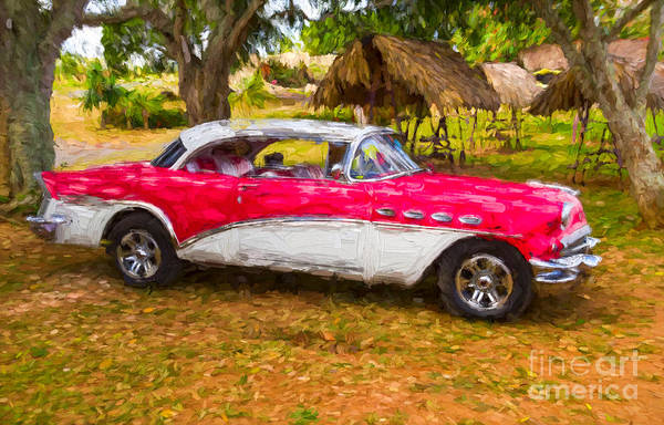 Photograph - Red And White Buick 1957 by Les Palenik