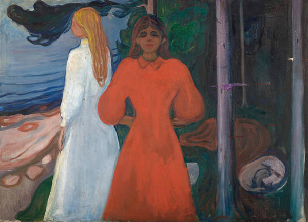 Norwegian Painting - Red And White by Edvard Munch
