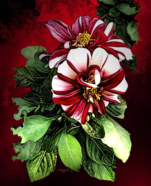 Digital Art - Red And White Flowers by Artful Oasis