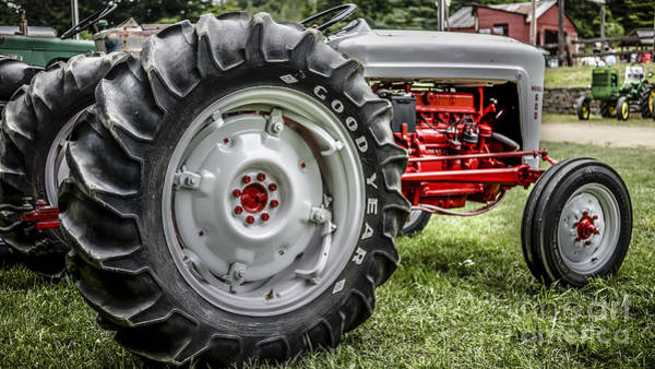 Best Selling Photograph - Red And White Ford Model 600 Tractor by Edward Fielding
