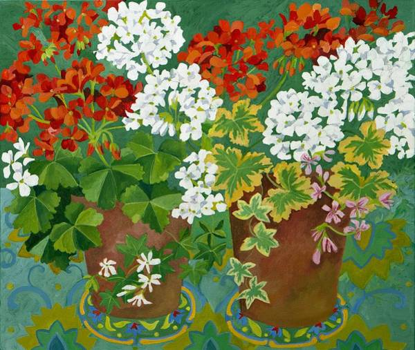 Red Geraniums Wall Art - Painting - Red And White Geraniums In Pots by Jennifer Abbot