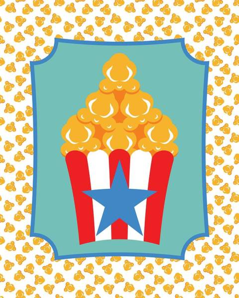 Digital Art - Red And White Popcorn Box With Blue Star by MM Anderson
