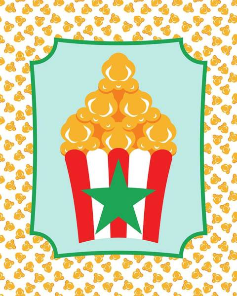 Digital Art - Red And White Popcorn Box With Green Star by MM Anderson