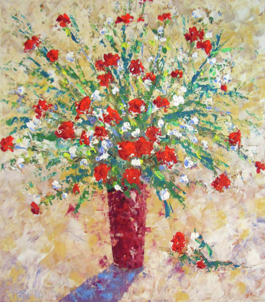 Painting - Red And White Roses by Frederic Payet