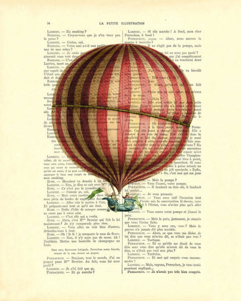 Air Balloon Wall Art - Digital Art - Red And White Striped Hot Air Balloon Antique Photo by Madame Memento