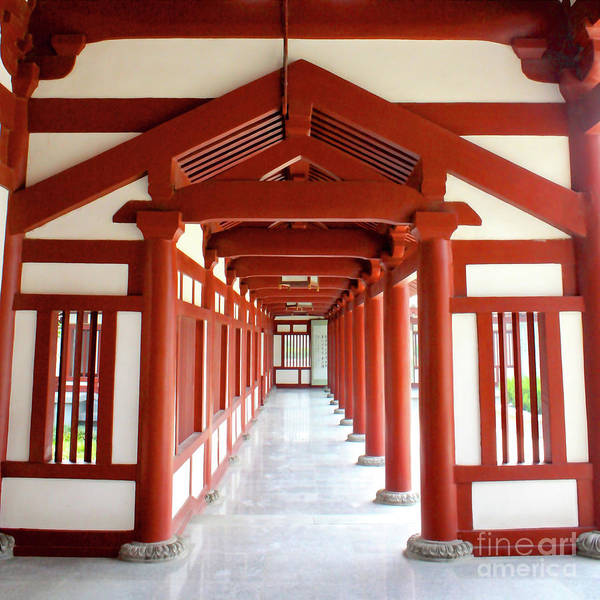 Photograph - Red And White Temple Perspective by Carol Groenen
