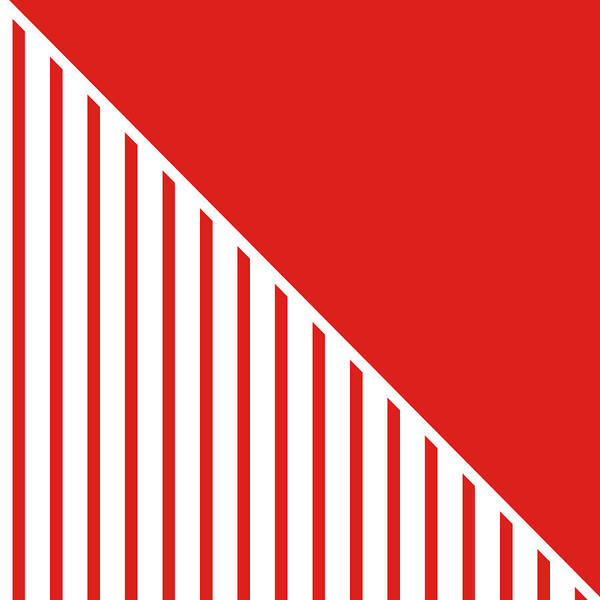 Digital Art - Red And White Triangles by Linda Woods