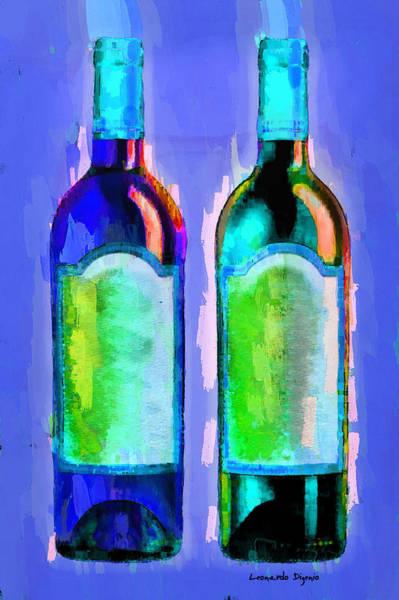 Cellar Digital Art - Red And White Wine Blue - Da by Leonardo Digenio