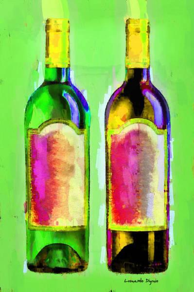 Cellar Digital Art - Red And White Wine Green - Da by Leonardo Digenio