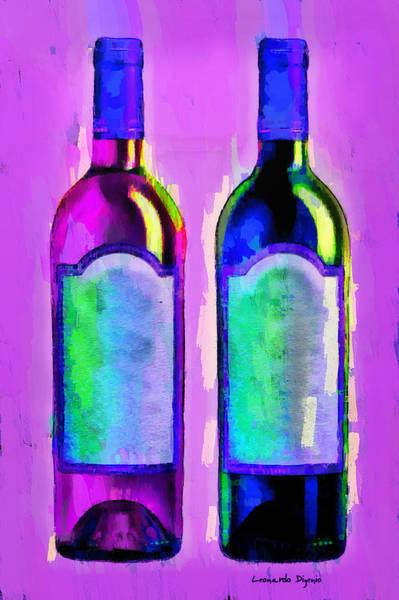 Cellar Digital Art - Red And White Wine Purple - Da by Leonardo Digenio