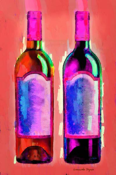 Cellar Digital Art - Red And White Wine Red - Da by Leonardo Digenio