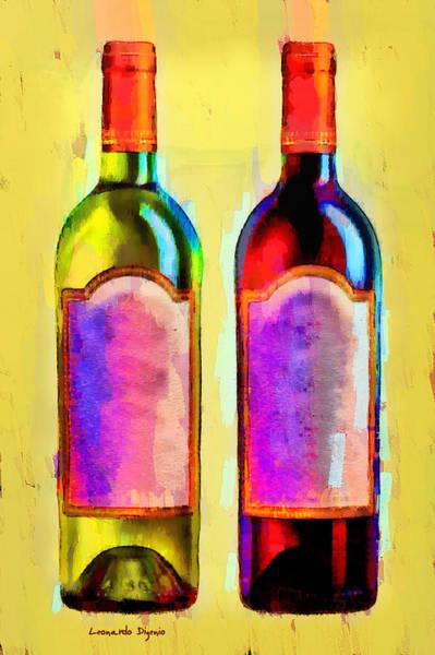 Cellar Digital Art - Red And White Wine Yellow - Da by Leonardo Digenio
