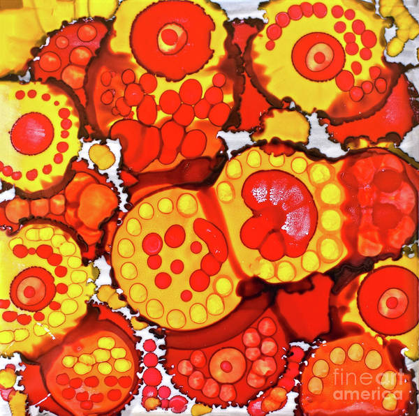 Painting - Red And Yellow Circles Of Fun by Christine Dekkers