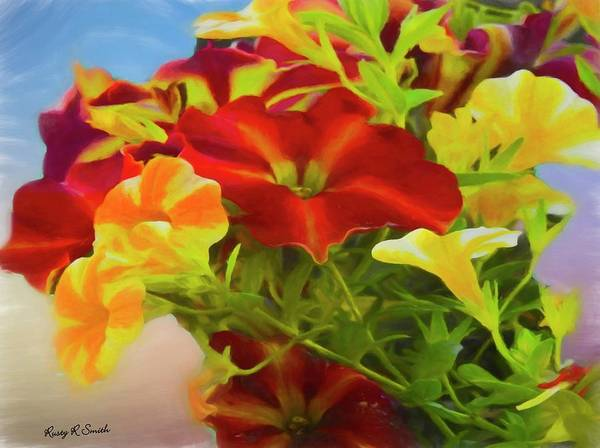 Digital Art - Red And Yellow Flowers by Rusty R Smith