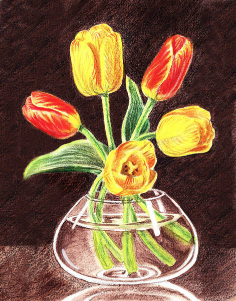 Dutch Tulip Painting - Red And Yellow Tulips Bouquet by Irina Sztukowski