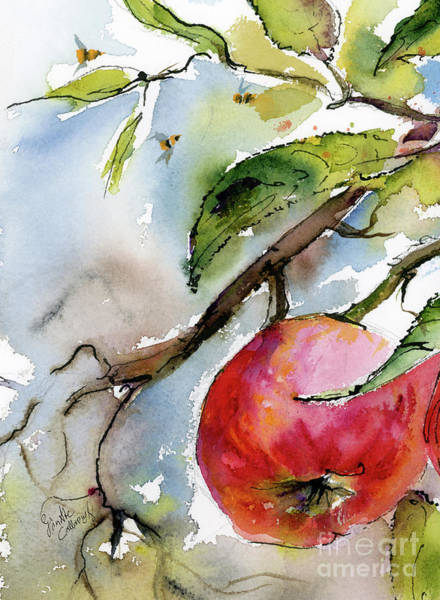 Painting - Red Apple  And Bees by Ginette Callaway