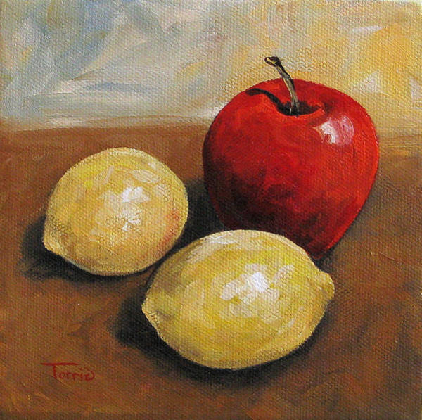 Wall Art - Painting - Red Apple And Lemons by Torrie Smiley