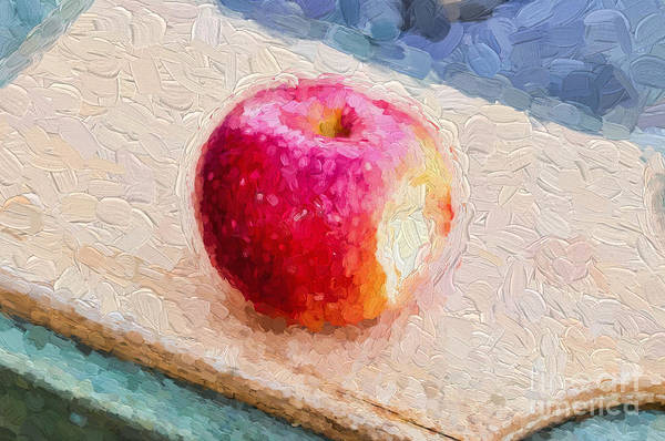 Photograph - Red Apple On Wooden Cutting Board by Les Palenik