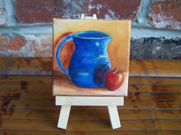 Painting - Red Apple With Blue Vase Miniature With Easel Sold by Susan Dehlinger