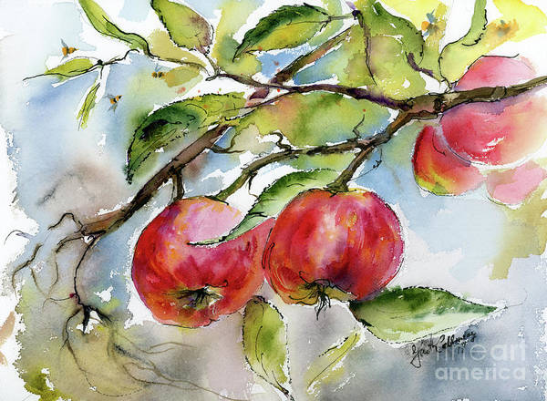 Painting - Red Apples And Bees Tree Branch by Ginette Callaway
