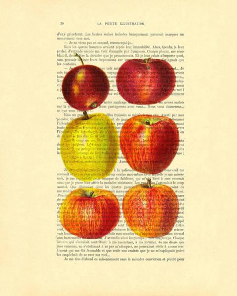 Vintage Dictionary Wall Art - Digital Art - Red Apples Still Life Vintage Illustration by Madame Memento
