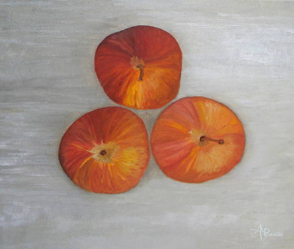 Painting - Red Apples On Gray by Angeles M Pomata