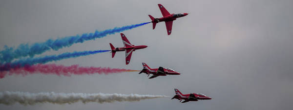 Photograph - Red Arrows Break Off - Teesside Airshow 2016 by Scott Lyons