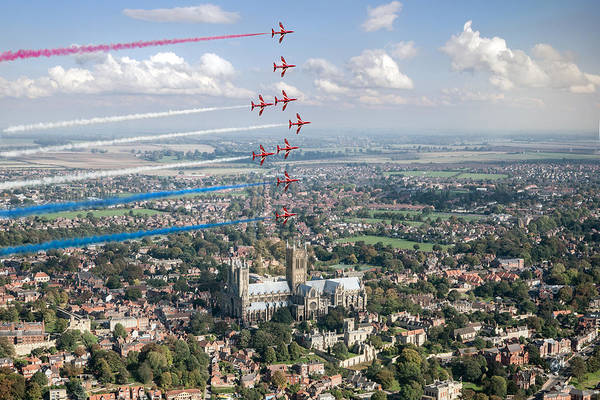 Digital Art - Red Arrows Over Lincoln Smoke On by Gary Eason