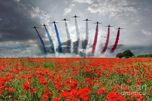 Tribute Digital Art - Red Arrows Poppy Field by J Biggadike