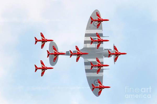 Tribute Digital Art - Red Arrows Spitfire Formation by J Biggadike