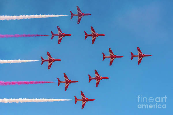 Photograph - Red Arrows Typhoon Formation by Gary Eason
