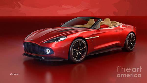 Super Car Mixed Media - Red Aston Martin  by Garland Johnson