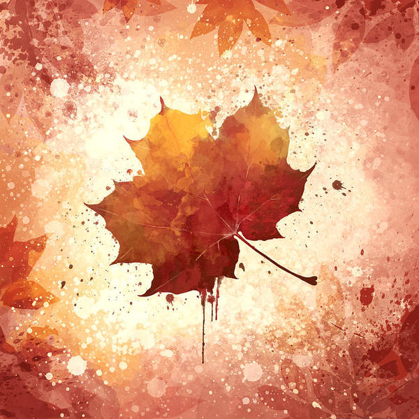 Aquarelle Painting - Red Autumn Leaf by Thubakabra