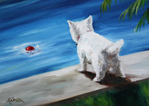 West Highland Painting - Red Ball by Mary Sparrow