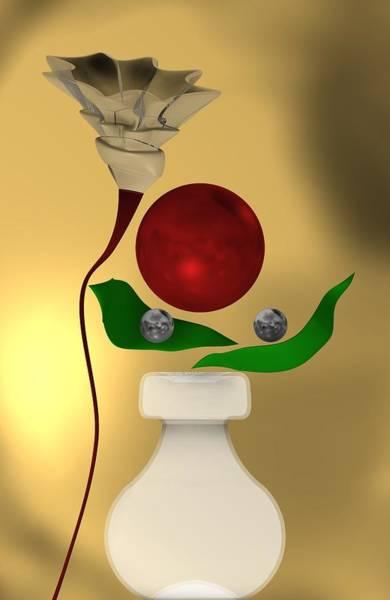 Digital Art - Red Ballwith Flower by Alberto RuiZ