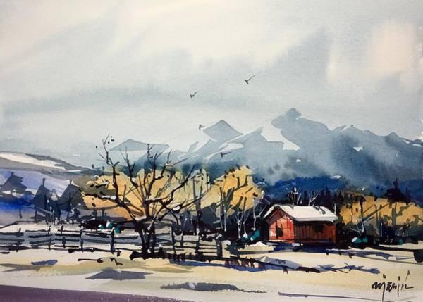 Barn Snow Painting - Red Barn #12 by Ugljesa Janjic