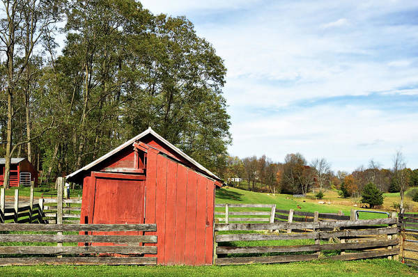 Photograph - Red Barn And Corral by Cate Franklyn