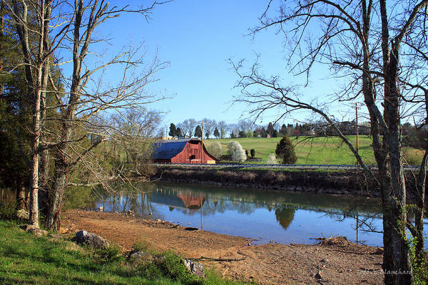 Photograph - Red Barn And Pond by Todd Blanchard
