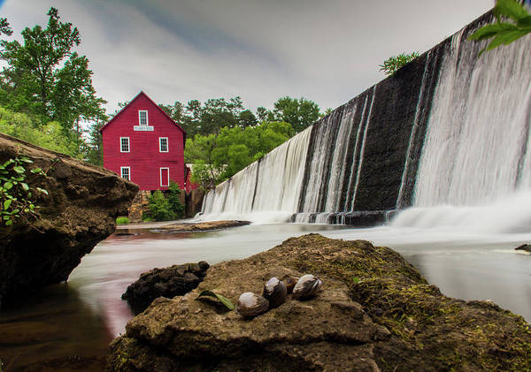 Photograph - Red Barn And Water Fall by Kenny Thomas