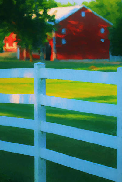 Wall Art - Painting - Red Barn And White Fence by Dan Sproul