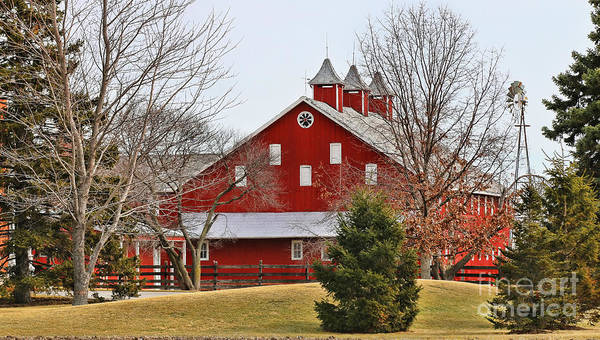 Wall Art - Photograph - Red Barn And Windmill   5880 by Jack Schultz