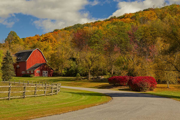 Photograph - Red Barn Around Fall Foliage by Susan Candelario