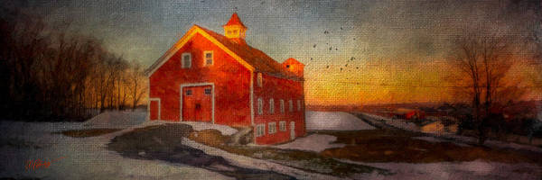 Barn Snow Digital Art - Red Barn At Dusk by Michael Petrizzo